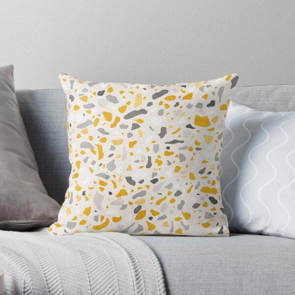 Terrazzo memphis vintage mustard yellow white gray beige Throw Pillow