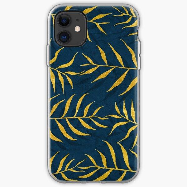 Motif de feuilles de palmier doré sur fond bleu foncé Coque souple iPhone