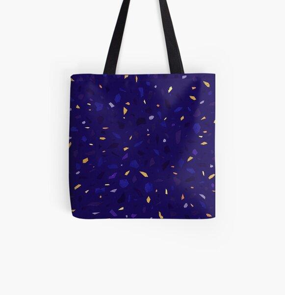 Night blue terrazzo pattern yellow golden black purple All Over Print Tote Bag