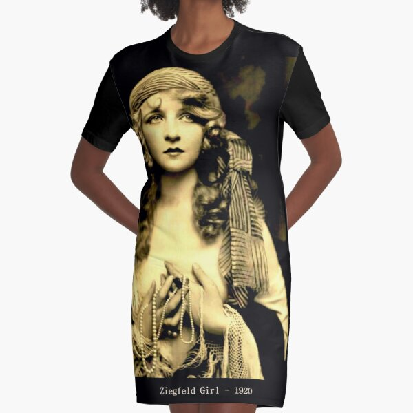 ZIEGFELD GIRL : Vintage 1920 Flapper Advertising Print Graphic T-Shirt Dress