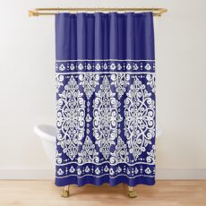 Blue queen. White and blue decorative vintage pattern. Shower Curtain