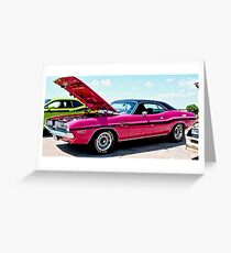 Bubblegum Pink Classic Dodge Challenger Greeting Card