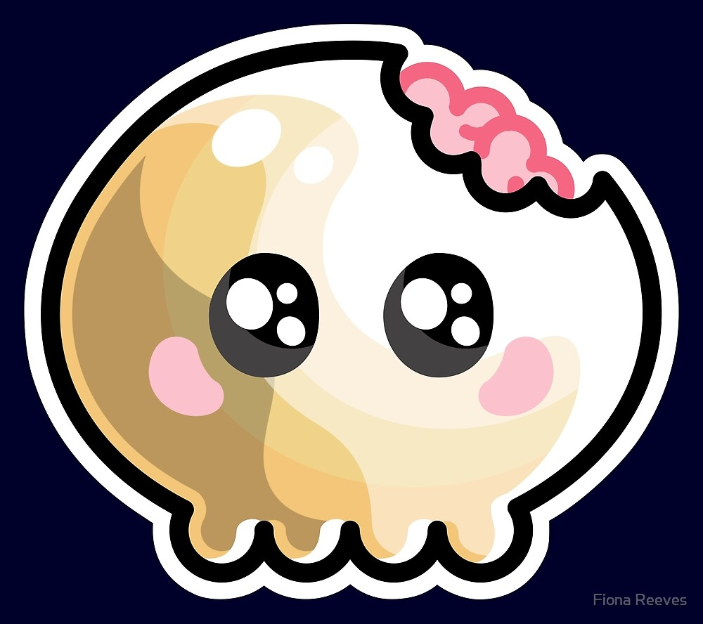 Kawaii Cute Skull and Brains by Fiona Reeves