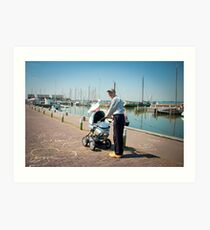 Grandpa on wooden shoes - Marken Art Print
