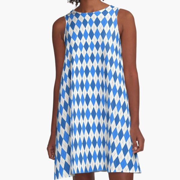 Shades of Blue Preppy Classic Argyle Pattern A-Line Dress