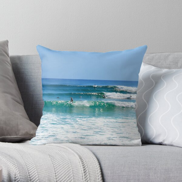 Surfs up - Rainbow Bay  Throw Pillow