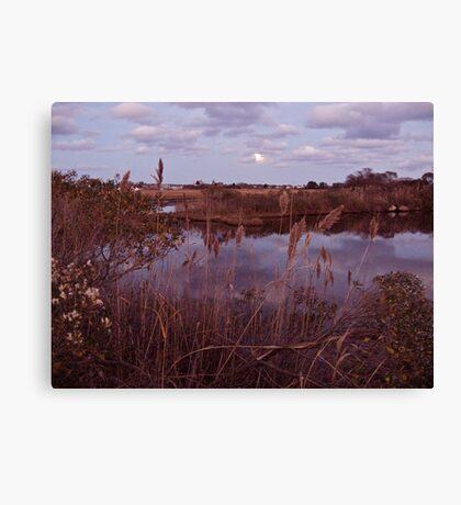 The Moon Peeks Out Over the Succotash Salt Marsh Canvas Print