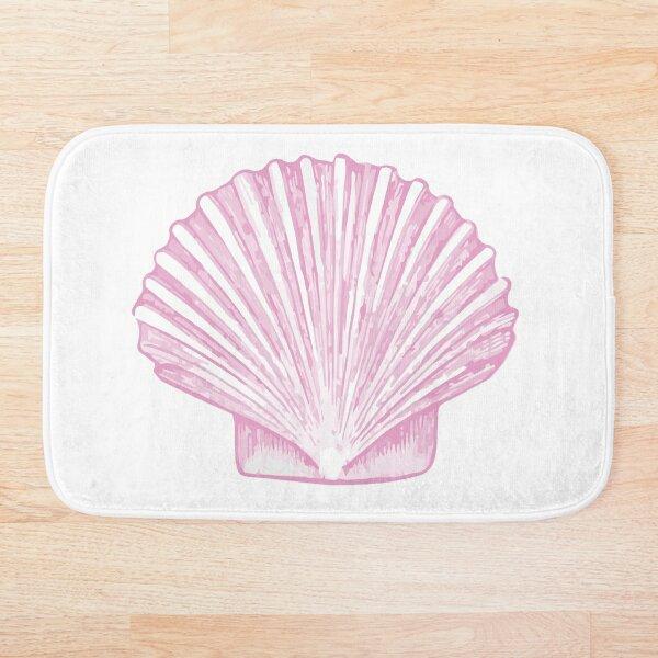 Pink Sea Scallop Shell Sketch Bath Mat