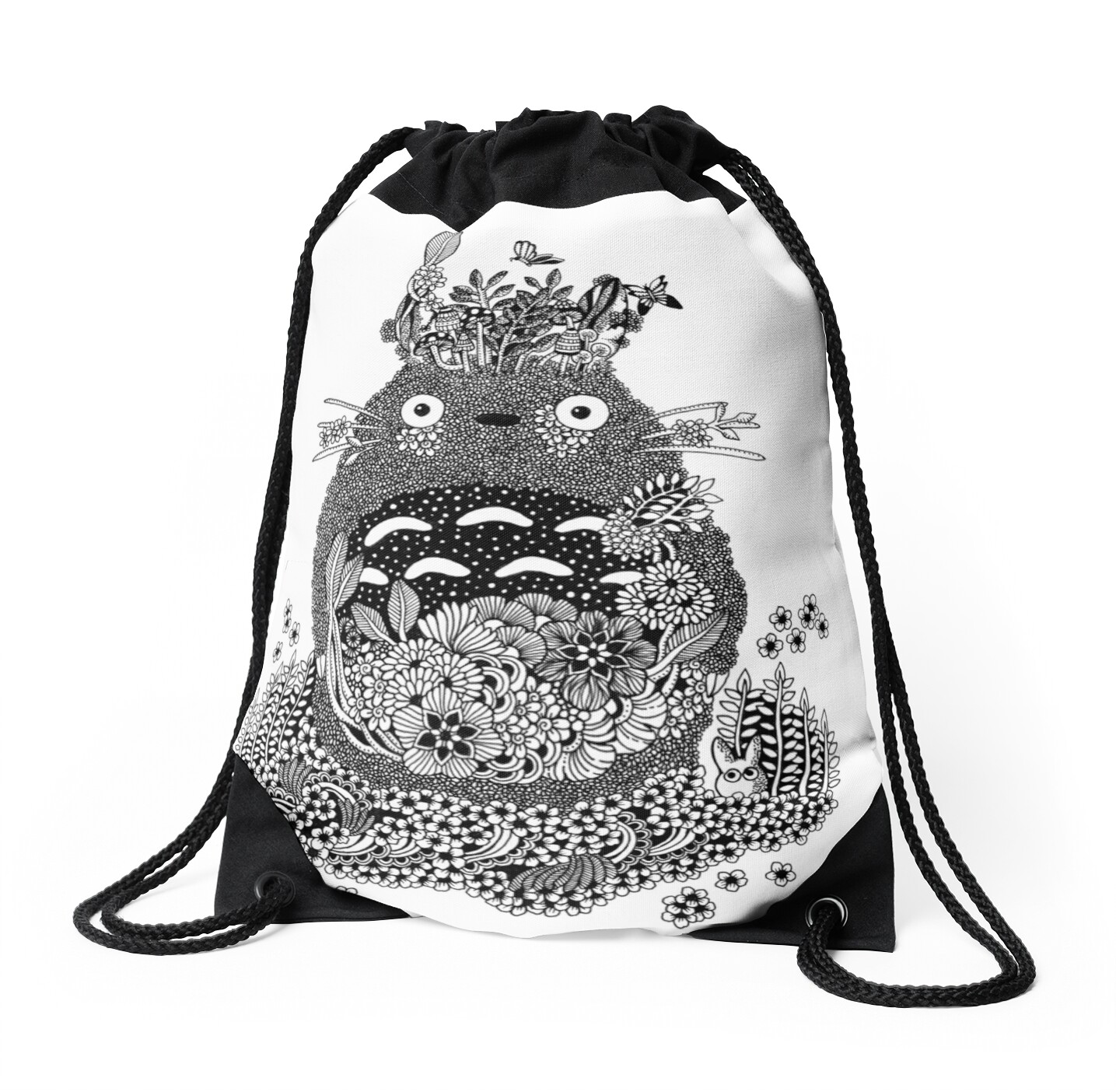 Totoro The Forest Spirit Black and White Doodle Art