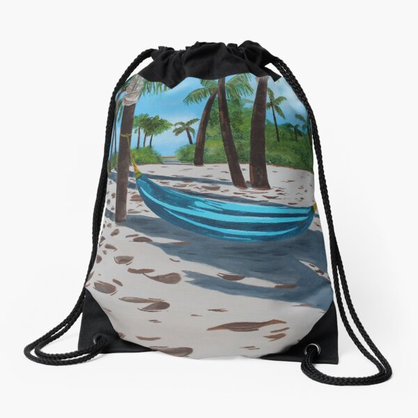 Lazy Beach Day Drawstring Bag