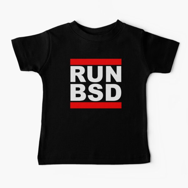 RUN BSD - Cool White/Red Design for Unix Hackers & Sysadmins Baby T-Shirt