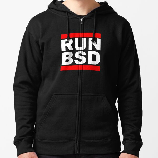 RUN BSD - Cool White/Red Design for Unix Hackers & Sysadmins Zipped Hoodie
