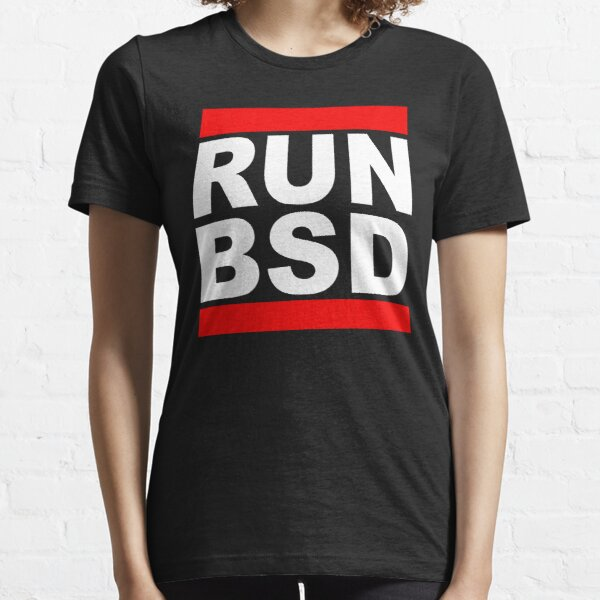RUN BSD - Cool White/Red Design for Unix Hackers & Sysadmins Essential T-Shirt