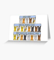 Cats celebrating a birthday on August 24th. Greeting Card