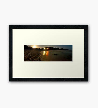 Sorrento Beach Party Panorama Framed Print