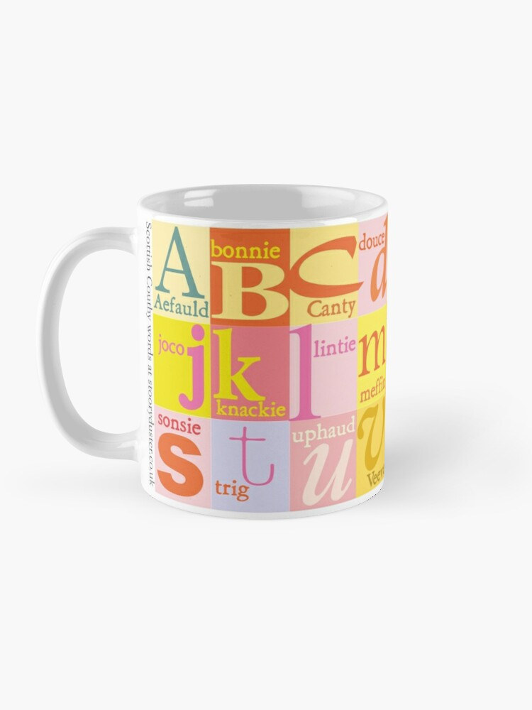 Alternate view of Scottish Couthie Word Alphabet - nice words. Mug