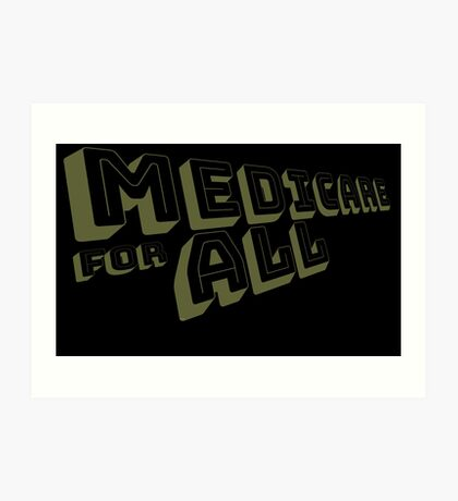 Medicare for All - Yellow Bungee Text Art Print