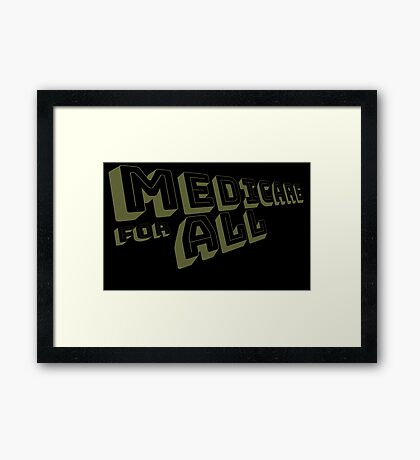 Medicare for All - Yellow Bungee Text Framed Print