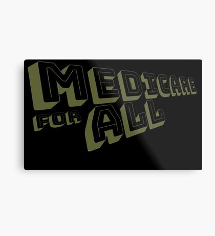 Medicare for All - Yellow Bungee Text Metal Print