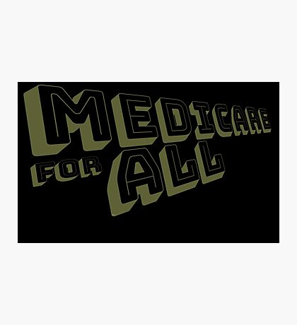 Medicare for All - Yellow Bungee Text Photographic Print
