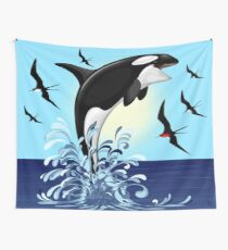 Orca Killer Whale jumping Wall Tapestry