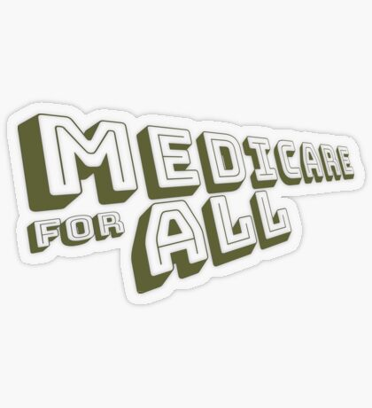 Medicare for All - Yellow Bungee Text Transparent Sticker