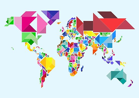 Tangram Abstract World Map by Michael Tompsett