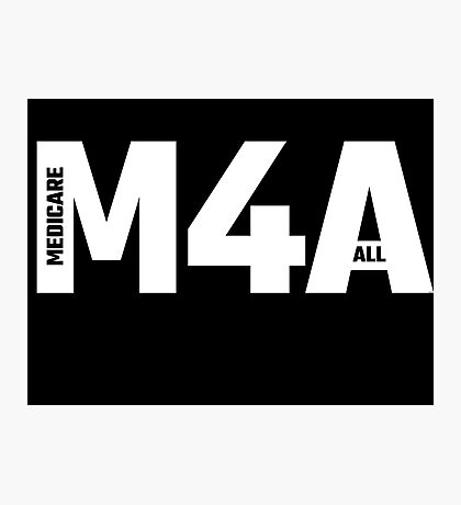 M4A (Medicare for All) White Acronym with Black Text Photographic Print