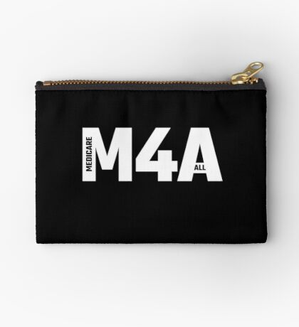 M4A (Medicare for All) White Acronym with Black Text Zipper Pouch