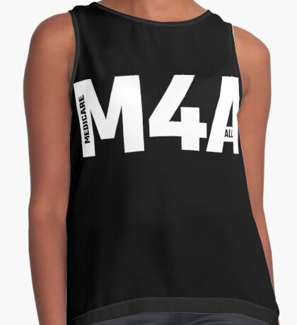 M4A (Medicare for All) White Acronym with Black Text Sleeveless Top