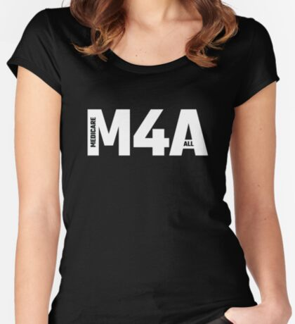 M4A (Medicare for All) White Acronym with Black Text Fitted Scoop T-Shirt