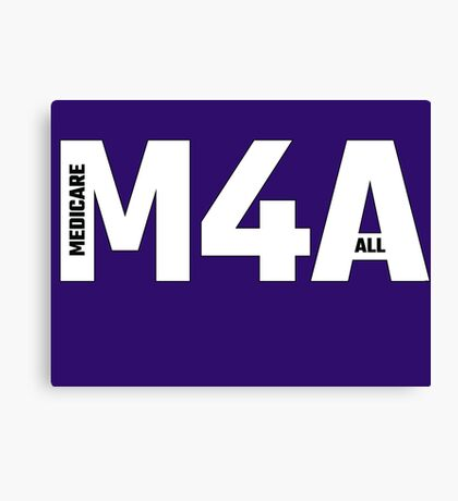Copy of M4A (Medicare for All) White Acronym with Black Text and Outline Canvas Print
