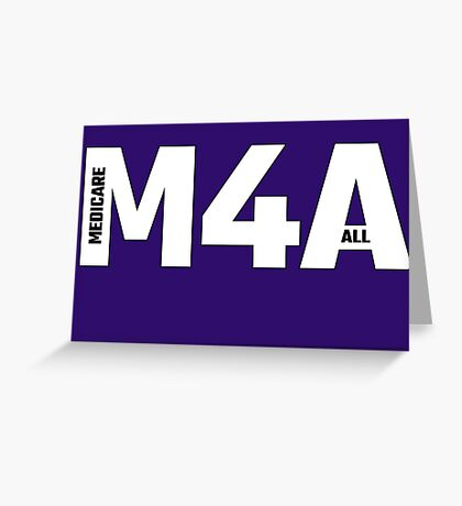 Copy of M4A (Medicare for All) White Acronym with Black Text and Outline Greeting Card