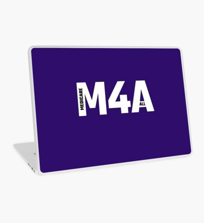 Copy of M4A (Medicare for All) White Acronym with Black Text and Outline Laptop Skin