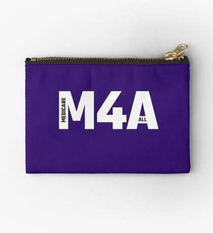 Copy of M4A (Medicare for All) White Acronym with Black Text and Outline Zipper Pouch