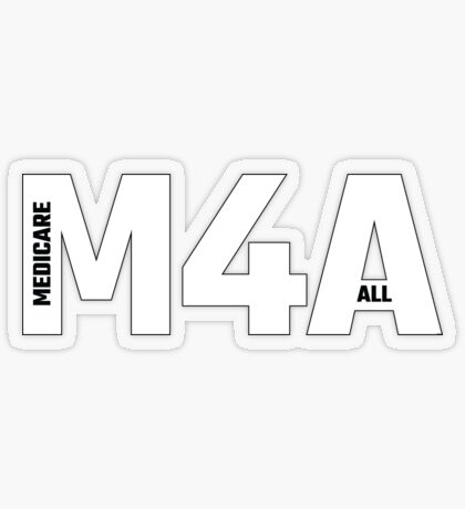 Copy of M4A (Medicare for All) White Acronym with Black Text and Outline Transparent Sticker