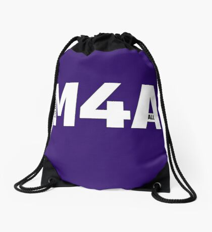 Copy of M4A (Medicare for All) White Acronym with Black Text and Outline Drawstring Bag