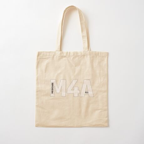 Copy of M4A (Medicare for All) White Acronym with Black Text and Outline Cotton Tote Bag
