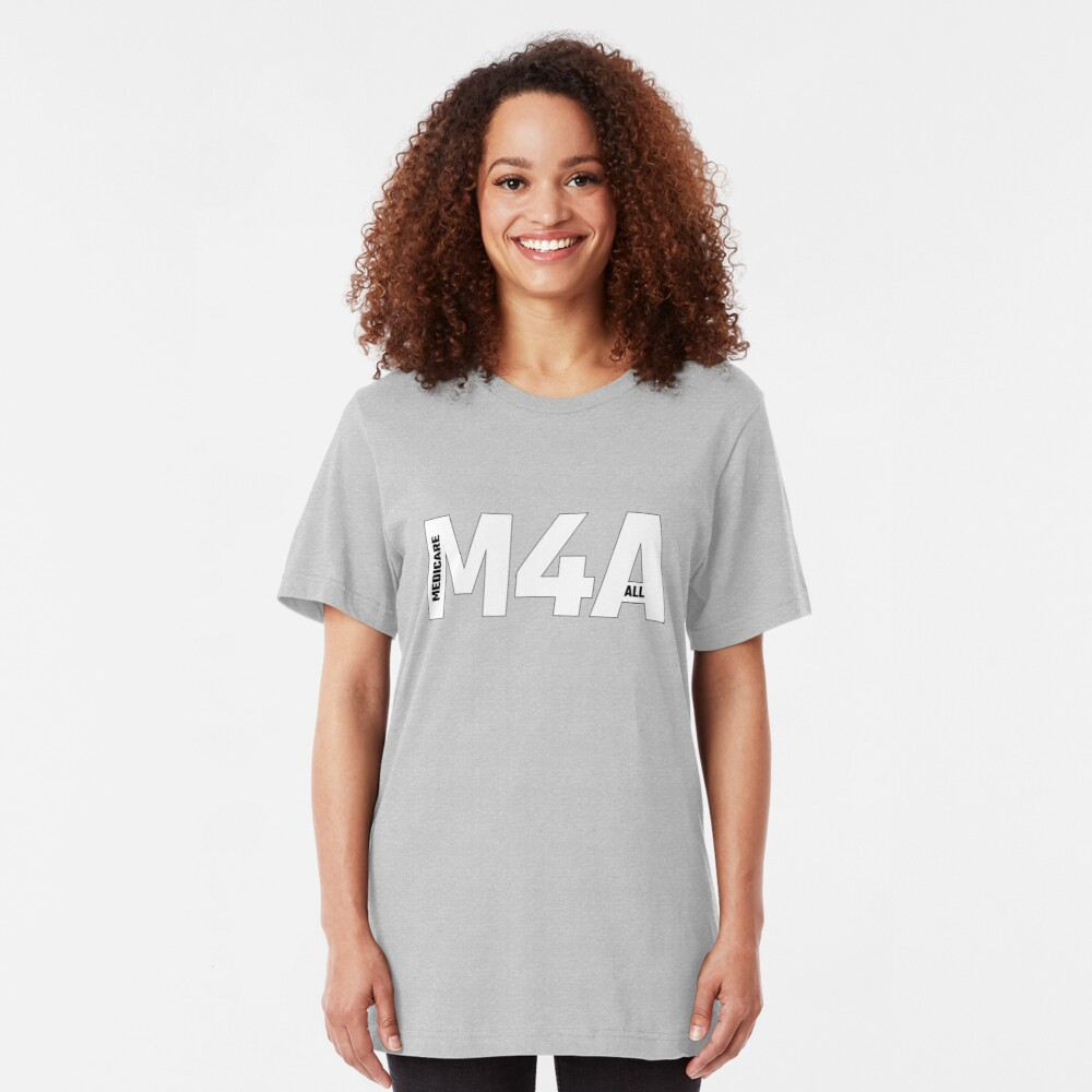Copy of M4A (Medicare for All) White Acronym with Black Text and Outline Slim Fit T-Shirt