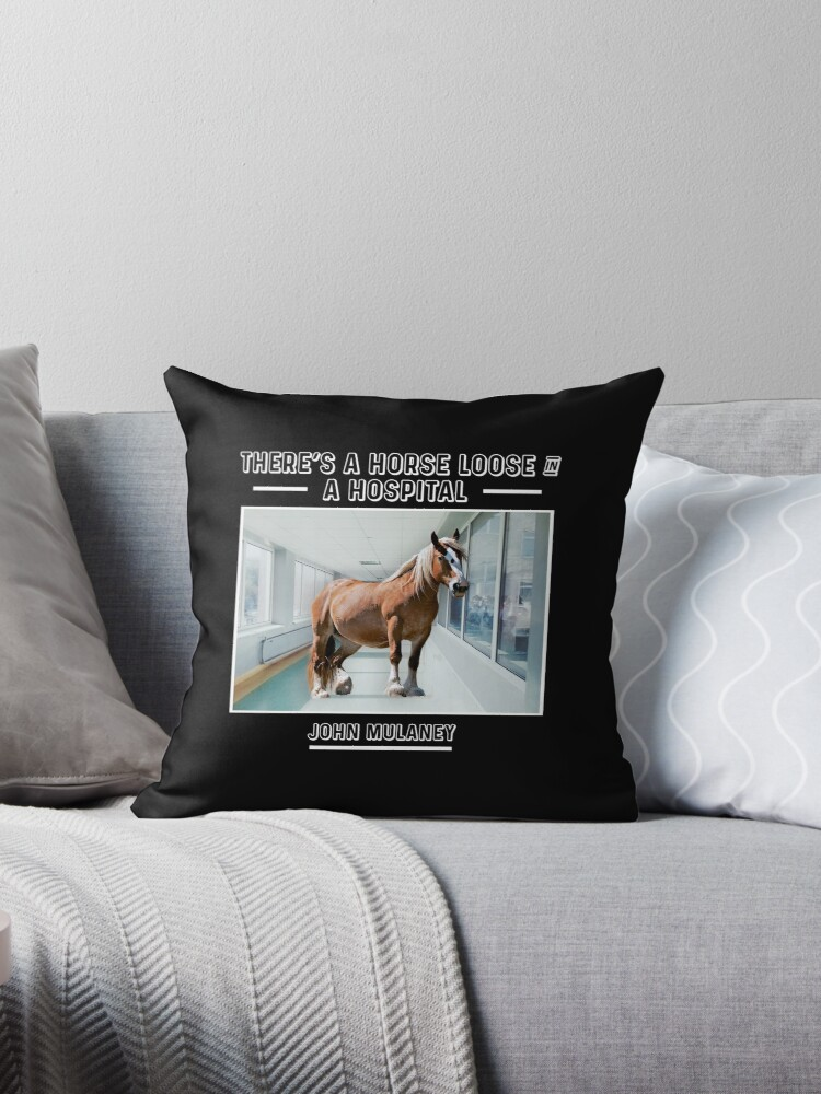 Horse In A Hospital Throw Pillow By Usernate Redbubble