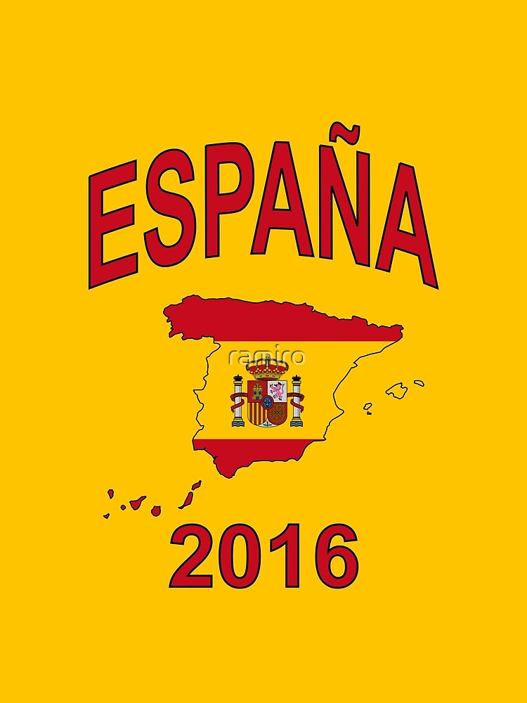 ESPAÑA 2016 - Spain Country Map Outline with Spanish Flag as Background - Red on Yellow  by ramiro