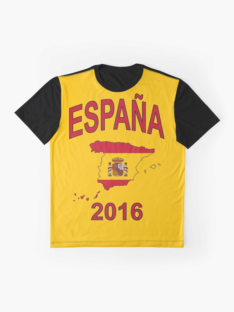 Alternate view of ESPAÑA 2016 - Spain Country Map Outline with Spanish Flag as Background - Red on Yellow  Graphic T-Shirt