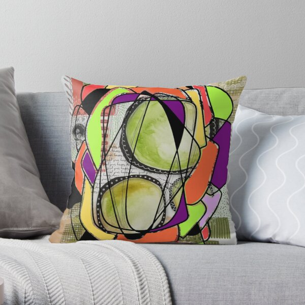Mixed media original abstract art combined with digital design Throw Pillow
