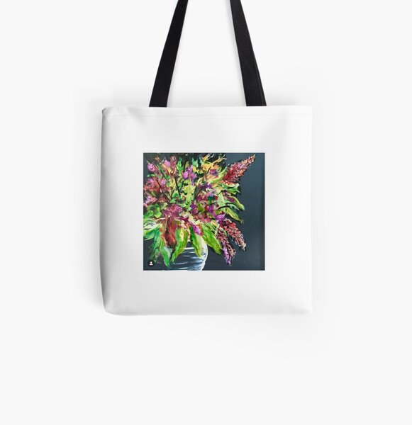 Black floral All Over Print Tote Bag