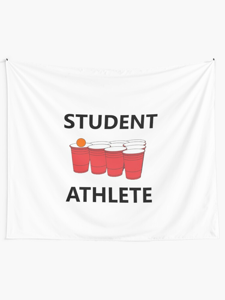 Alternate view of Funny Student Athlete Beer Pong Shirt Drinking Drunk Drink Alcohol Welcome Claw Shit Show College Student School University Party Frat Gift Tapestry