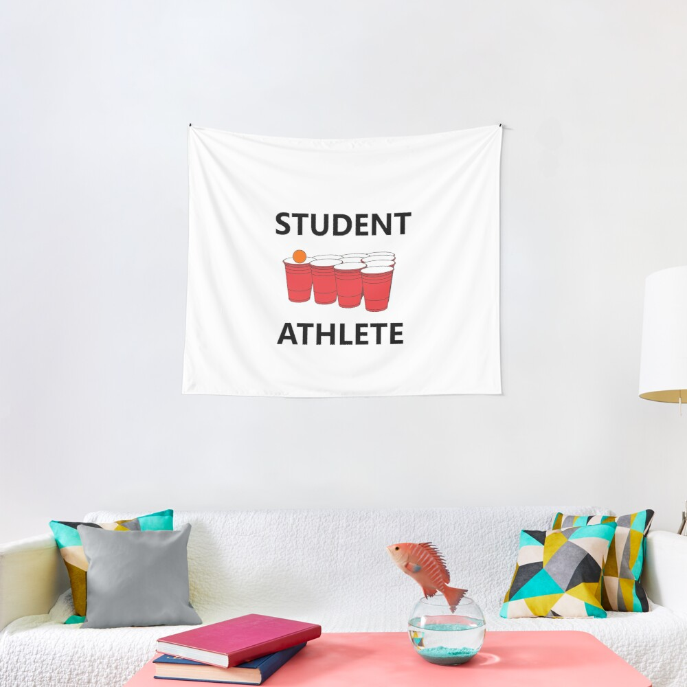 Funny Student Athlete Beer Pong Shirt Drinking Drunk Drink Alcohol Welcome Claw Shit Show College Student School University Party Frat Gift Tapestry