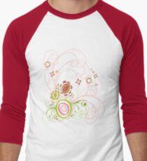 Sweet Groovy Pink Wild Blooms Men's Baseball ¾ T-Shirt