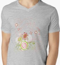 Sweet Groovy Pink Wild Blooms Mens V-Neck T-Shirt