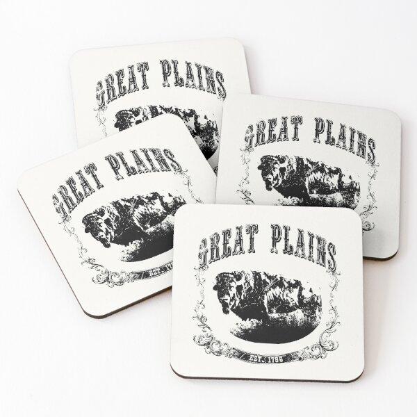 Great Plains Bison Print Black Coasters (Set of 4)