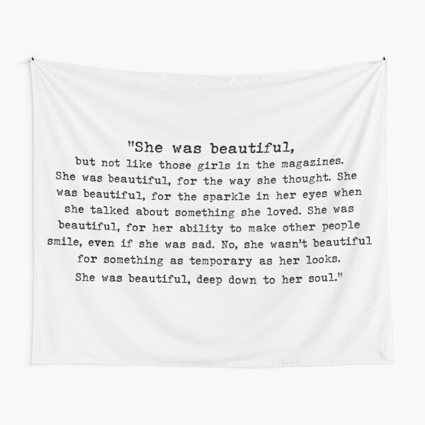 """""""She was beautiful"""" quote from F. Scott Fitzgerald Tapestry"""